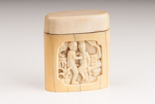 Box for storing opium with erotic carving - opium was seen as an aphrodisiac and was originally smoked in brothels