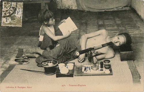 Postcard of opium smoker from Vietnam