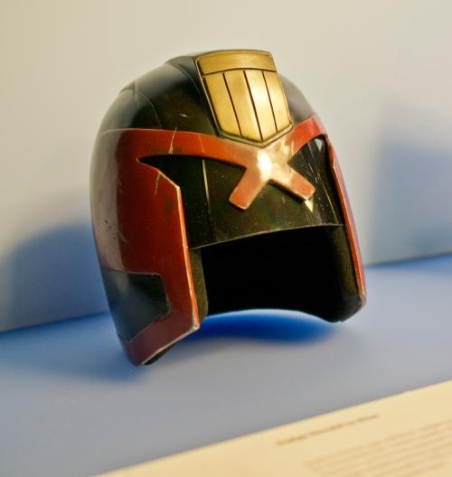 Judge Dredd's helmet loaned by DNA Films - producers of 'Dredd'. Photography (c) Tony Antoniou