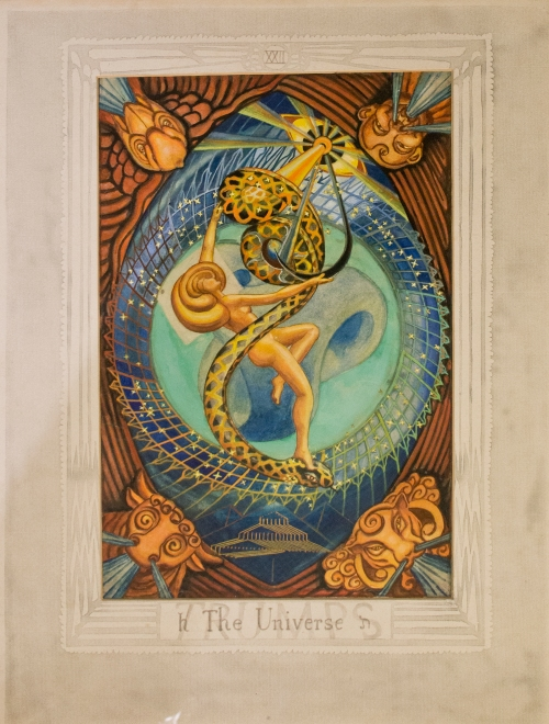 Original painting of Aleister Crowleys tarot card 'The Universe', on loan from The Warburg Institute. Photography (c) Tony Antoniou